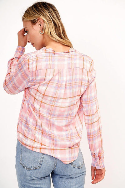 Pink Plaid Blouse