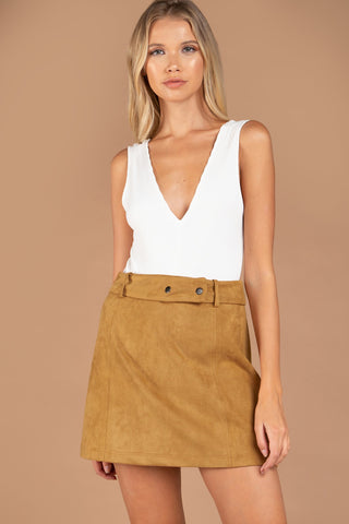 Suede Belted Skirt