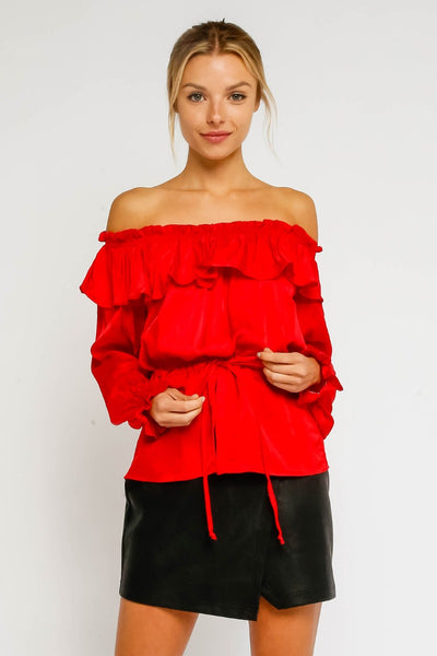 Satin Holiday Red Blouse