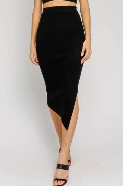 Ribbed Slit Pencil Skirt