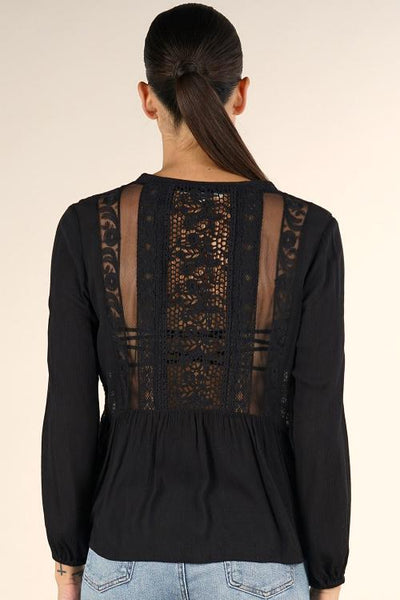 Lace Trim Long Sleeve