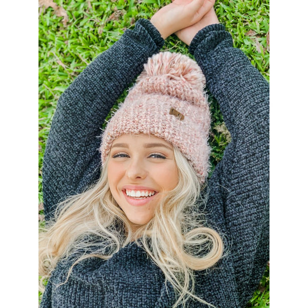 Feather Knit Beanie