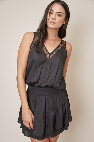 Shirring Dress with Lace