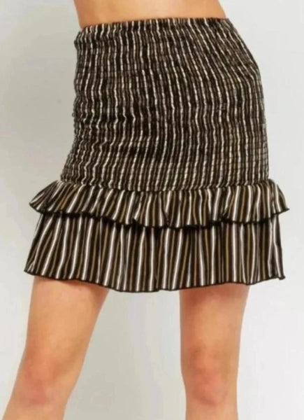 Striped Smocked Skirt