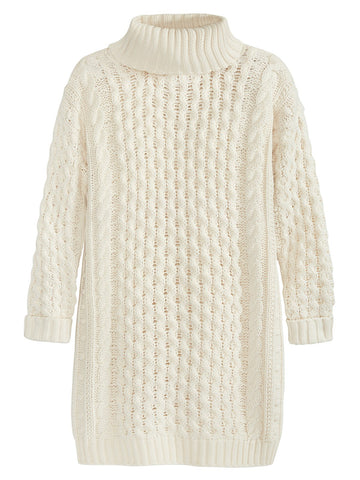 Cable Knit Turtleneck Dress/Tunic