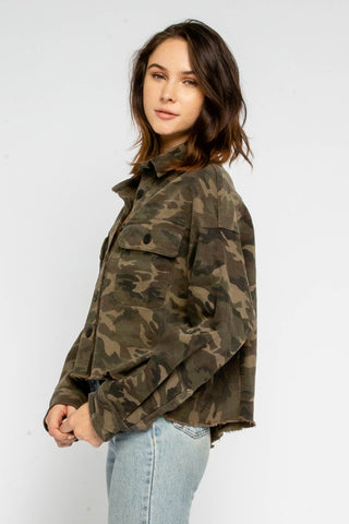 Camo Cropped Boyfriend Jacket