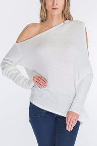 Fuzzy One Shoulder Sweater
