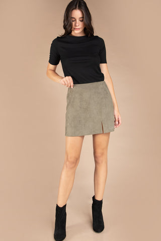 Faux Suede/Leather Mini Skirt