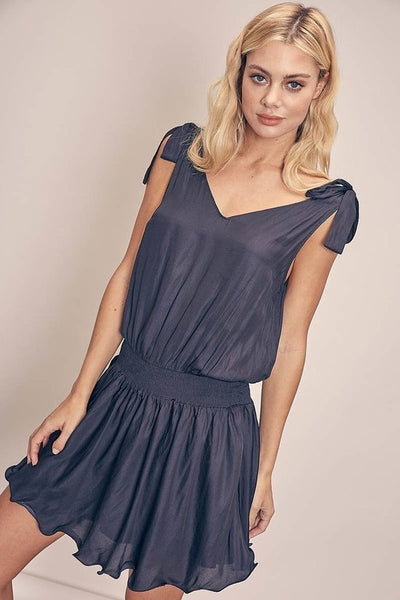 Shoulder Tie Smock Dress