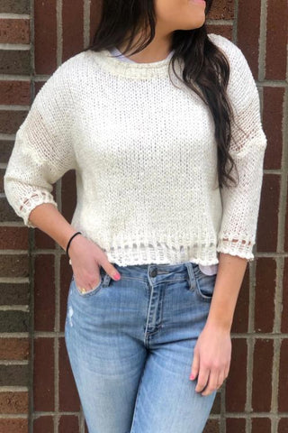 Scoop Neck Cropped Sweater