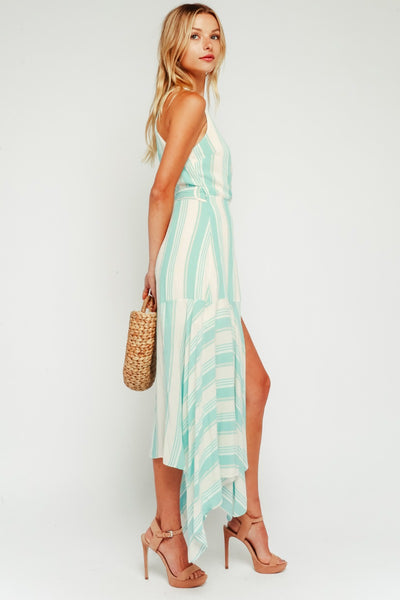 Mint Striped Wrap Maxi