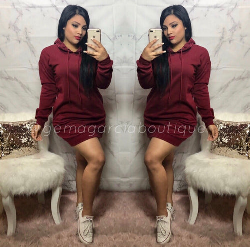 Hoodie Dress - Burgundy