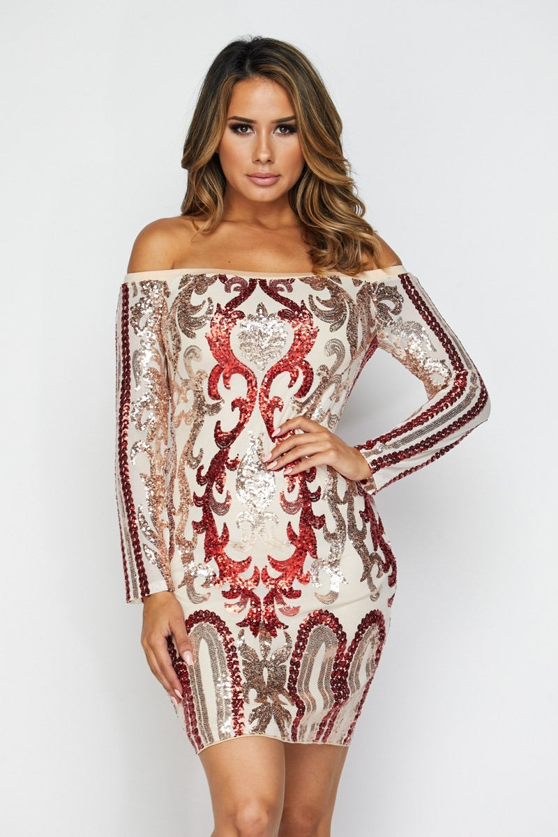 Anabelle Sequin Dress - Red/Gold
