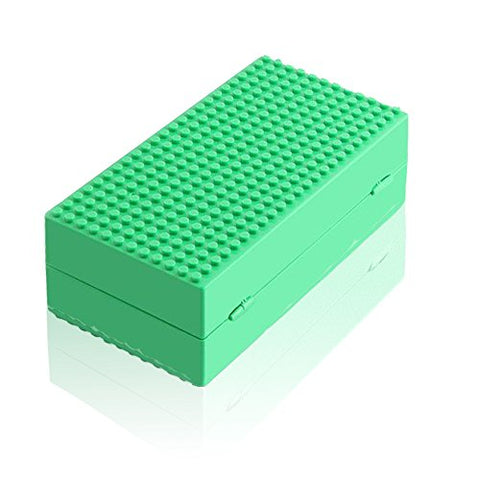 Feleph Blocks Storage Box, Portable Surface Diy Building Blocks Storage Case Baseplatescompatible Action Figures Multifunction Box Building Bricks Base Plate Toys For Kids Gift (Green)
