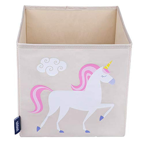 Wildkin 10 Inch Storage Cube, Perfect For Promoting Organization, Measures 10 X 10 X 10 Inches, Coordinates With Other Room Dcor  Olive Kids Design, Unicorn