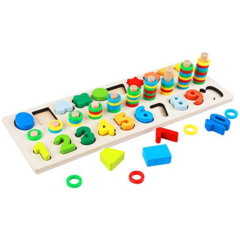 Muyindo Montessori Wood Blocks Puzzle Board Set For Toddler Preschool Kids, Learning &Amp; Educational Toys For Number Counting, Colors Stacking, Shape Sorting, Early Education Toy