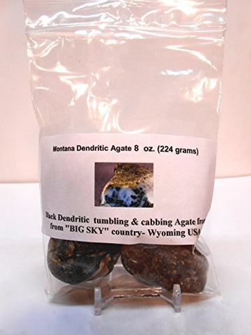 Rock Tumbler Gem Refill Kit Yellowstone,Montana Black Dendrite Agate Rough 8 Oz