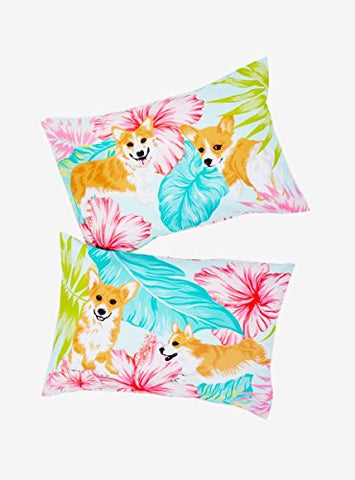 Corgi Tropical Pillowcase Set