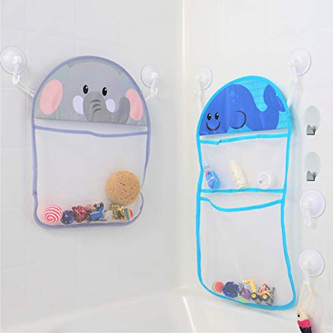 Youngever Bath Toy Organizer With 3M Sticky Hooks And Suction Hooks, Large 14X20 &Amp; Medium 12X16, Bath Net For Bathtub Toys And Bathroom Storage, Elephant And Whale Design