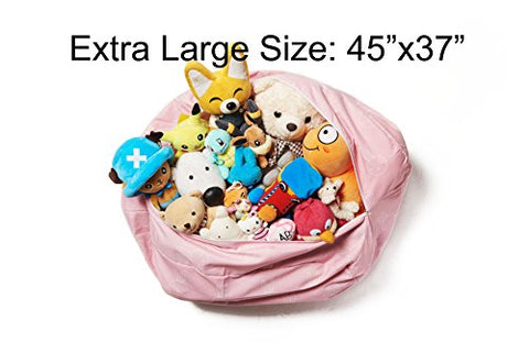 Premium Quality Stuffed Animal Storage Bean Bag Chair To Clean Up Toys / Replace Your Toy Hammock Toy Net (X-Large)