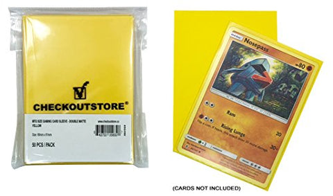 Checkoutstore (300) Protective Sleeves For Trading Cards (66 X 91 Mm) (Double Matte Yellow)