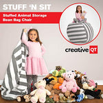 Creative Qt Stuffed Animal Storage Bean Bag Chair - Extra Large Stuff 'N Sit Organization For Kids Toy Storage - Available In A Variety Of Sizes And Colors (38 , Grey/White Striped)