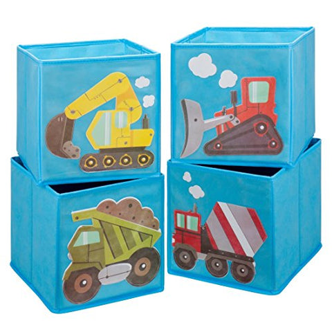 Ava & Kings Foldable Fabric Storage Cube Container Bins Shelf Drawers - Kids' Light Blue Construction Theme Toy Box Organizer For Boys Girls - Fits 11X11 To 13X13 Cubical Shelves - Set Of 4