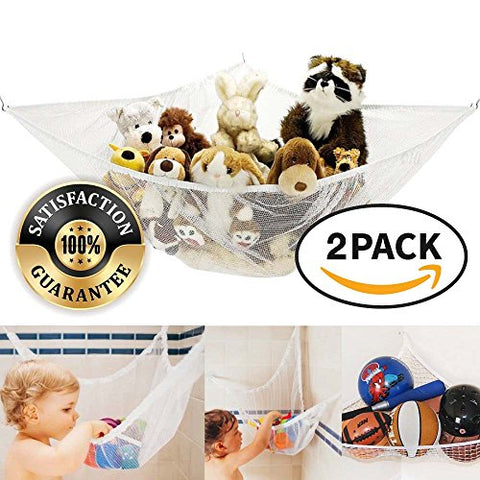 Eutuxia Stuffed Animal Hammock, Mesh Hanging Net For Toys, Large Storage And Organizer For Kids Room And Bathtub [2 Pk]