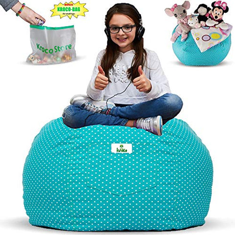 Kroco Stuffed Animal Storage Bean Bag Chair For Kids Bedroom | Plush Toys Storage Beanbag Cover For Toddler Or Teen | Stuff Organizer Seat Holder For Girls And Boys | Original Bag Extra Large -Teal