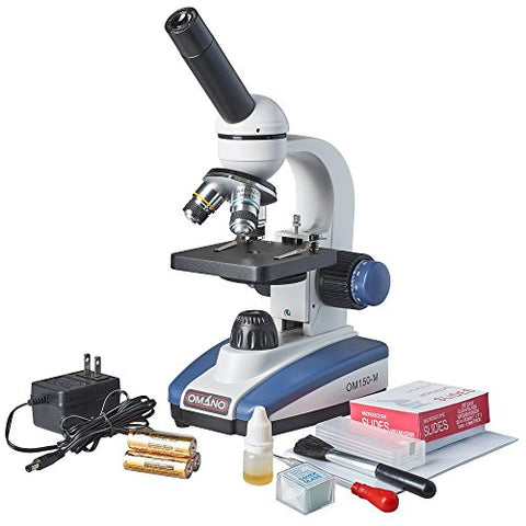 Omano Om150-Mk 40X-400X Premium Monocular Compound Led Student Microscope &Amp; Accessory Kit