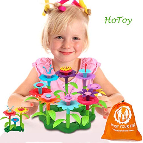 Hotoy Kids Toys Flower Building Toy Set, Garden Building Blocks Playset For Girls Boys, 46 Pcs With 11 Colors Educational Toys Creative For Decoration And Play Ages 3 &Amp; Up