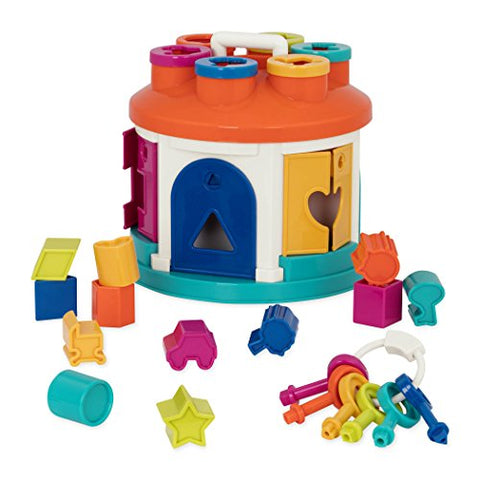 Battat  Shape Sorter House  Color And Shape Sorting Toy With 6 Keys And 12 Shapes For Toddlers 2 Years + (14-Pcs)
