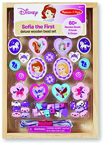 Melissa & Doug Disney Sofia The First Deluxe Wooden Bead Set With 60+ Beads For Jewelry-Making