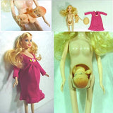 Papabasi Educational Real Pregnant Doll Suits Mom Doll Have A Baby In Her Tummy For Barbie