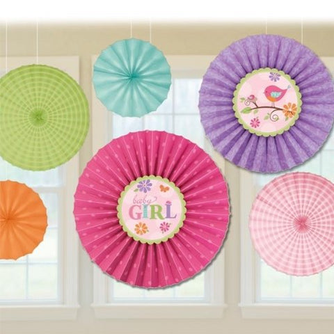 Tweet Baby Girl Paper Fan Decorations (6Ct)