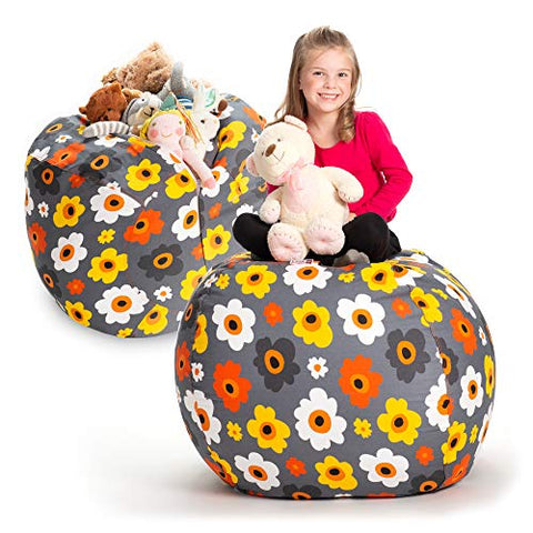Creative Qt Stuffed Animal Storage Bean Bag Chair - Extra Large Stuff 'N Sit Organization For Kids Toy Storage - Available In A Variety Of Sizes And Colors (38 , Grey Floral)