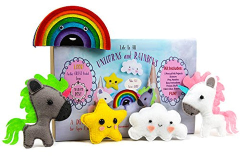 Madam Posy Design Rainbows And Unicorns Stuffed Animal Sewing Crafts Kit For Girls: Unicorn Crafts Diy Stuffed Animal Sewing Craft Kit: For Kids Age 7-12