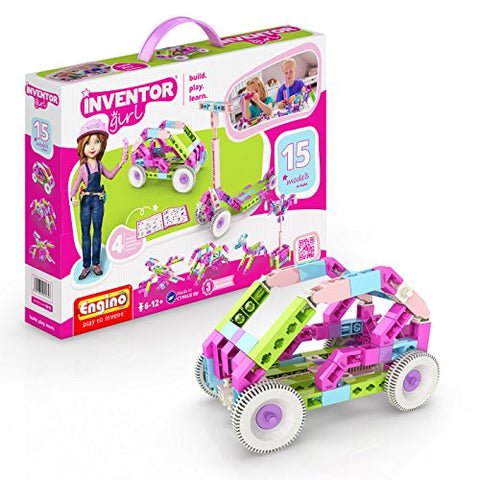 Engino Inventor Girl 15 | Stem Model Construction System | Build Stem Skills | 102 Parts | Parts Separating Tool Included | Eng-Ig15