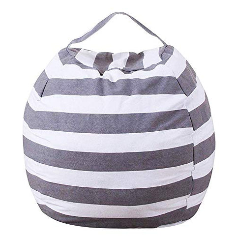 Evoio Stuffed Animal Storage Bean Bag Chair Toy Organizer &Amp; Comfy Chair, Multipurpose Storage, Perfect Decorative Kid'S Room (Grey Striped, 26'')