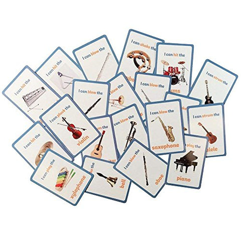 Educational Live Picture Cards Of Instruments 20 Pc. Set For Children Ages Preschool Pre-K, Thru Grade School For Parent, Teachers, Therapists To Help Develop Early English Language Skills