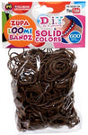 D.I.Y. Do It Yourself Bracelet Zupa Loomi Bandz 600 Brown Rubber Bands With 'S' Clips