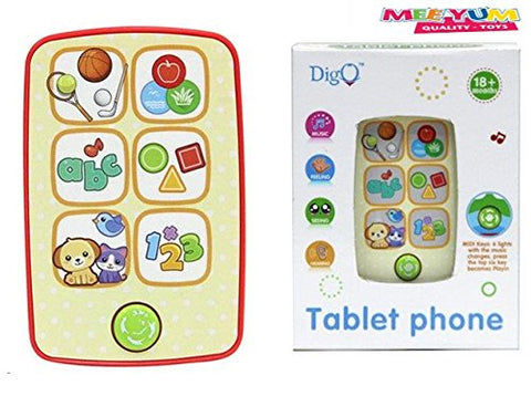 Meeyum Pretend Play Baby Musical Learning Toy Phone Tablet; Animals, Shapes, Counting Numbers, Alphabets