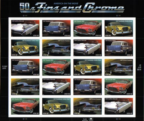 Us Stamps 50S Fins And Chrome ~ Classic Cars #4357 A Pane Of 20 X 42