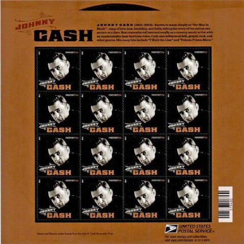 Johnny Cash Stamp Sheet Of 16 X Forever U.S. Postage Stamps New Mint