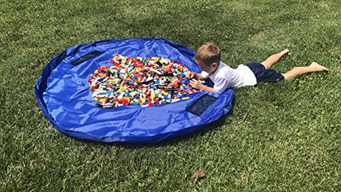 Large 60 Inch Toy Mat & Storage Bag - Lightweight, Easy Close, Portable, Sturdy. - Great For Backyard, Beach, Playdate, Pool. Organized In Seconds.