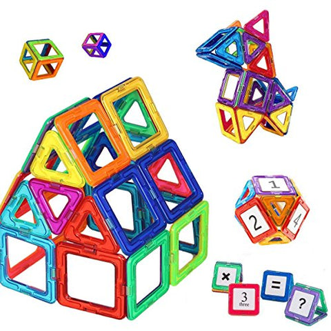 Mini Butterballe 56 Pcs Magnetic Building Blocks Tile Set, Stem Educational Learninig Toys For Kids, Magnet Stacking Blocks Preschool Construction Kits For Toddler