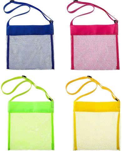 8 Pieces Colorful Mesh Beach Bags, Seashell Mesh Bags, Breathable Sea Shell Bags With Adjustable Carrying Straps