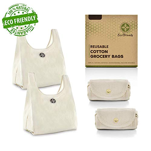 Foldable Cotton Reusable Shopping Bags - Key Biscayne Living