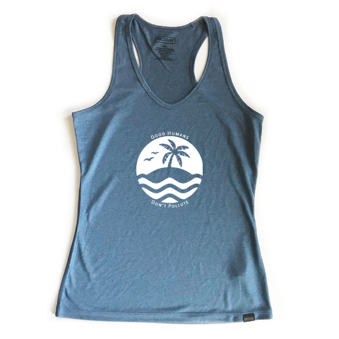 Good Humans Don't Pollute 100% Recycled Sport Women's Tank Top - Key Biscayne Living