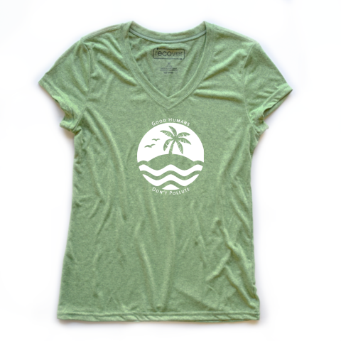 Good Humans Don't Pollute 100% Recycled Women's Sport V-Neck - Key Biscayne Living